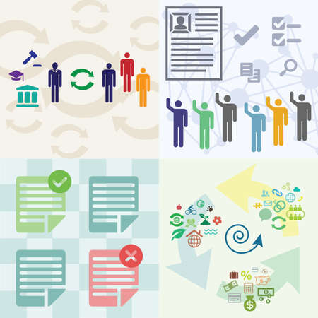 vector illustration / peopla and hiring / project application approval / sustainable development circle