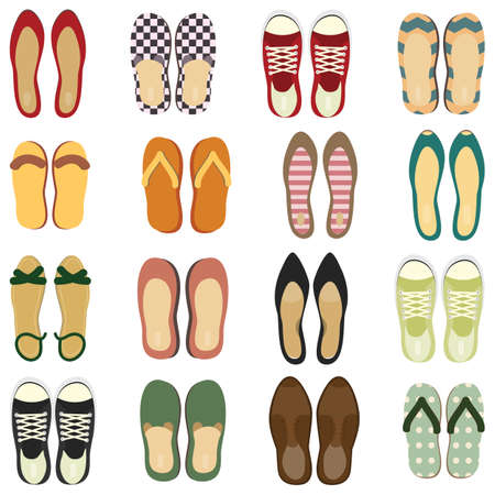 vector illustration / different shoes pairs