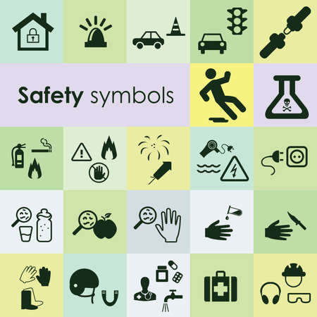 vector illustration / safety rules symbols/ protection items icons