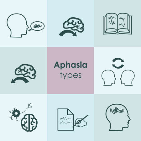 vector illustration / aphasia symptoms / speech and language disorders icons Banque d'images - 153224066