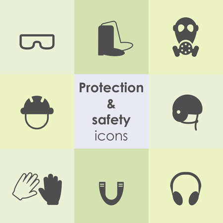 vector illustration / protection items icons / gloves and boots / mask and helmet