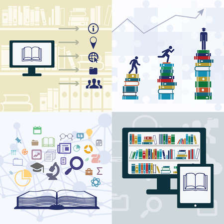 vector illustration / education process/ electronic libraries / online studying / knowledge in different spheres / open book Illustration