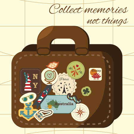 vector illustration / travel vintage concept / hipster traveling suitcase