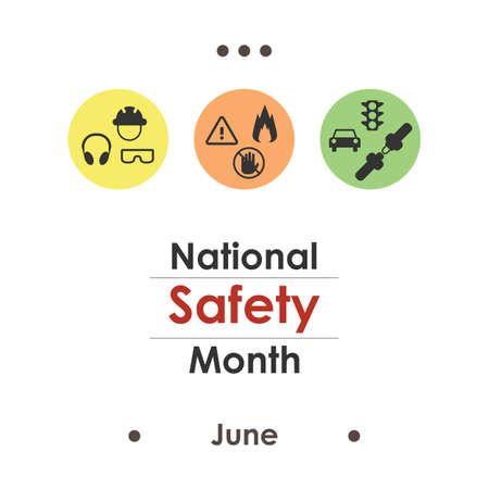 vector illustration / june is national safety  month