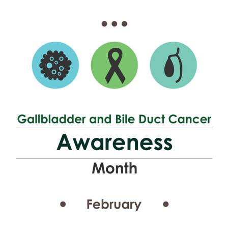 vector illustration / gallbladder and bile duct cancer awareness month Illustration
