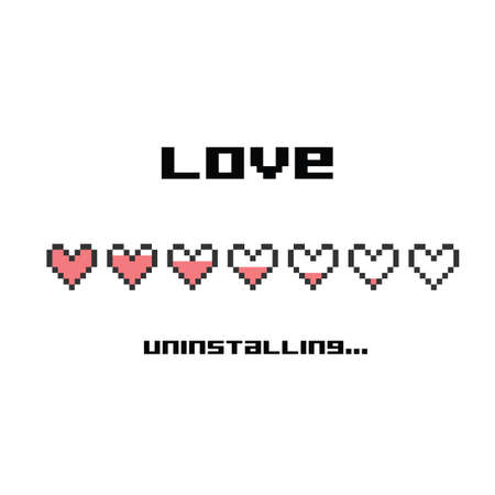 vector illustration / pixel art / love uninstalling lettering