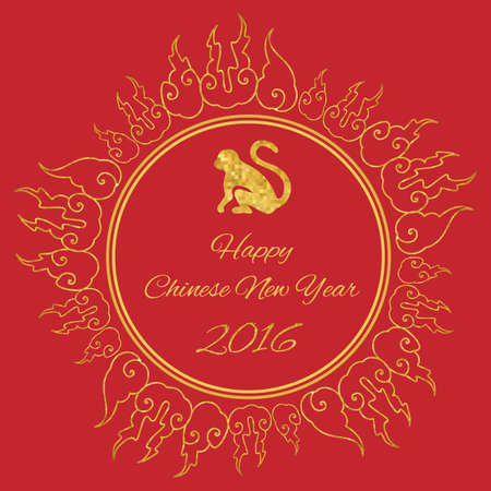 Chinese new year / vector illustration / monkey and fire circle