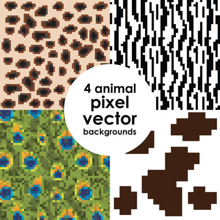 vector illustration / animal skin background / pixelart style Illustration