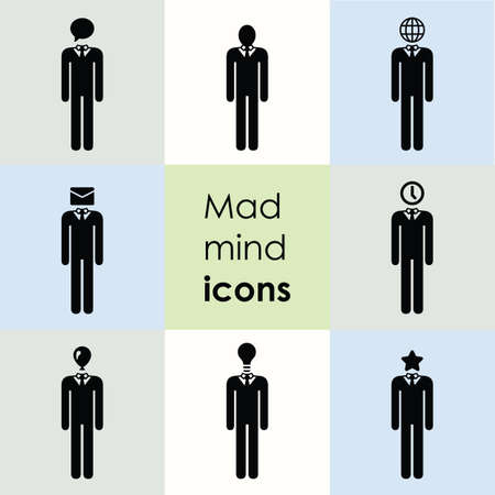 vector illustration / man sign / mind illustration