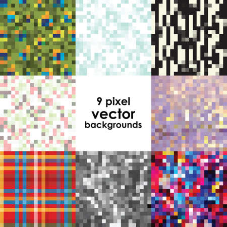 vector illustration / pixel art / backgrounds set