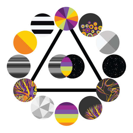 vector illustration / cosmic abstract design / rainbow colored circles