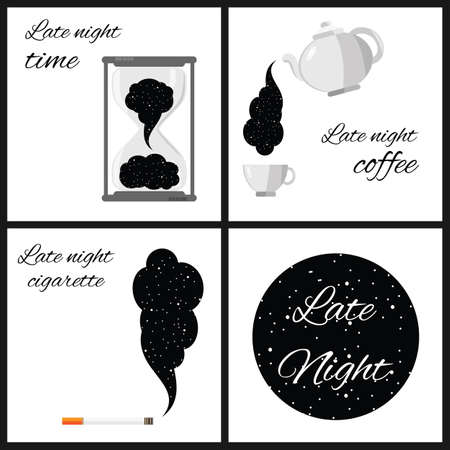 vector illustration / starry sky / cigarette smoke and late night coffee