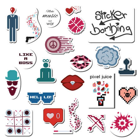 vector illustration / various stickers and phrases / street art and graffiti style