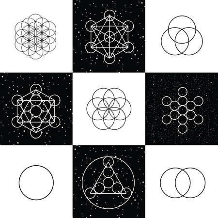 Vector illustration / flower of life / sacred geometry / ancient symbol