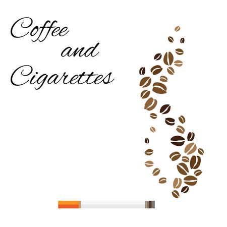 vector illustration / coffee with cigarette / smoking and coffee beans