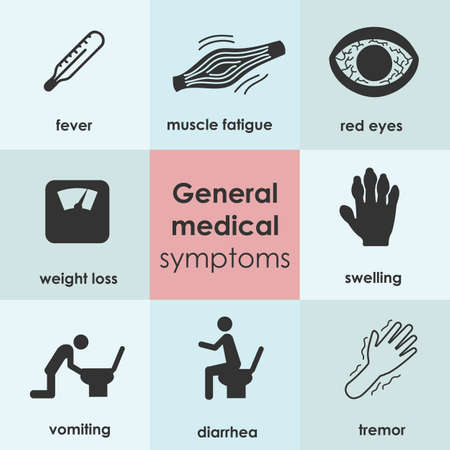 vector illustration / general medical symptoms / health problems / disorders icons set Banque d'images - 153203086