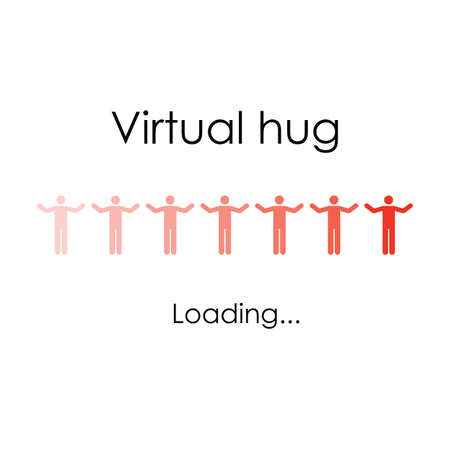 vector illustration / virtual hug loading Banque d'images - 153282122