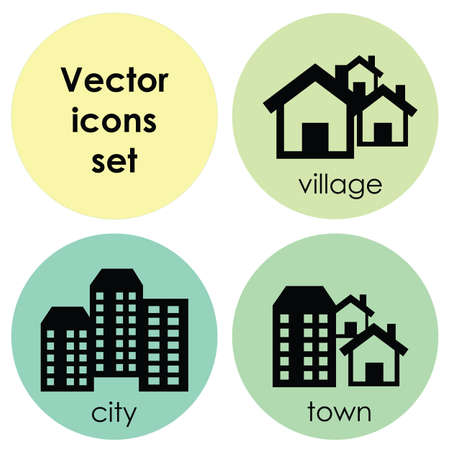 vector illustration / icons set / city town and village Ilustrace