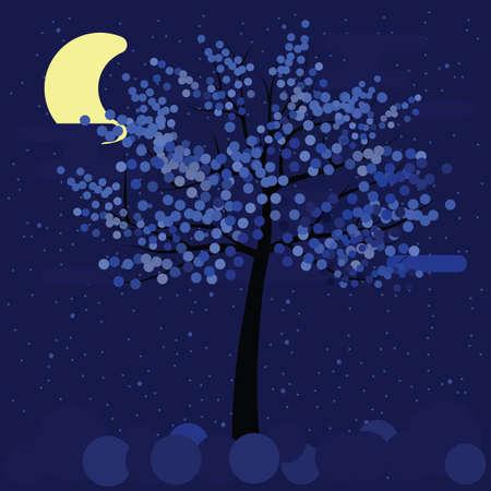 vector illustration / winter tree / blue night
