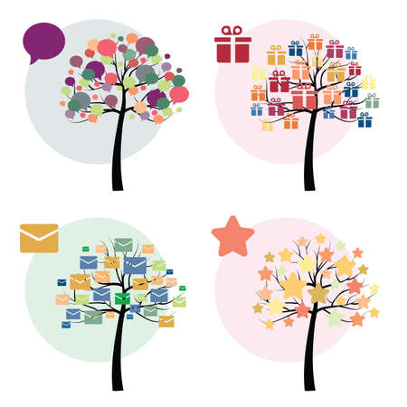 vector illustration / trees set / vector icons / mail comment gift star