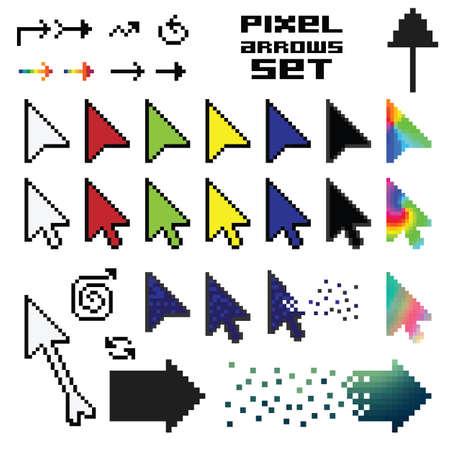 vector illustration / pixel art / arrows set