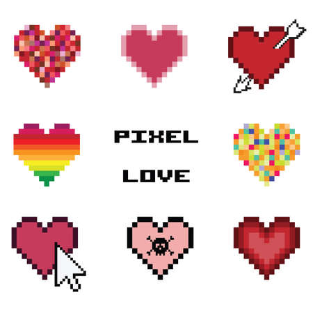 vector illustration / pixel art / hearts collection
