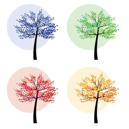 vector illustration / four seasons / colorful trees