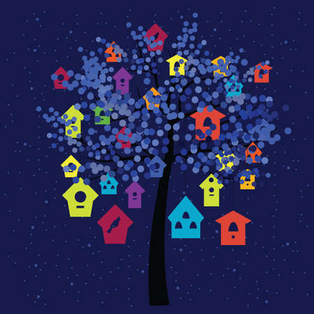 vector illustration / birds homes on the tree Banque d'images - 154816939