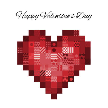 vector illustration / valentines day greeting card / pixel art Banque d'images - 154817749