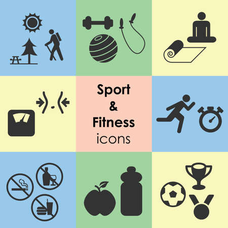 vector illustration / sport and fitness icons/ healthy lifstyle and sport competition elements