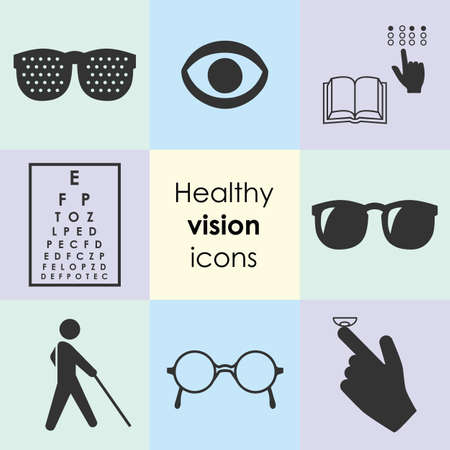 vector illustration / healthy vision icons / eye problems and vision tests / glasses and lenses