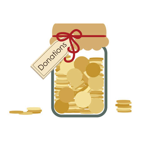 vector illustration / donations jar with coins / savings in jar / donations and charity concept Banque d'images - 154820298
