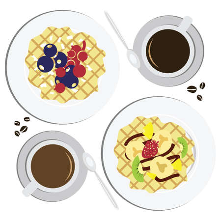 vector illustration / flat lay concept / waffles with coffee / breakfast menu