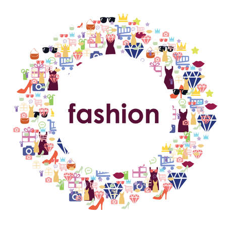 vector illustration / fashion design / elements in circle / shopping concept / fashion lifestile