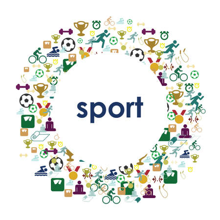 vector illustration / sport and fitness concept / sport circle design / healthy lifstyle and sport competition elements in round shape