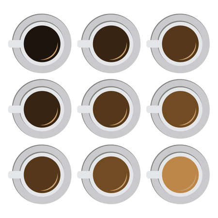 vector illustration / coffee types scale / coffee flat lay / coffee with milk gradient Banque d'images - 154821348
