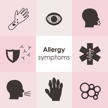 vector illustration / allergy symptoms icons / allergic reactions images / allergy types pictures set / food allergy symbol Ilustrace