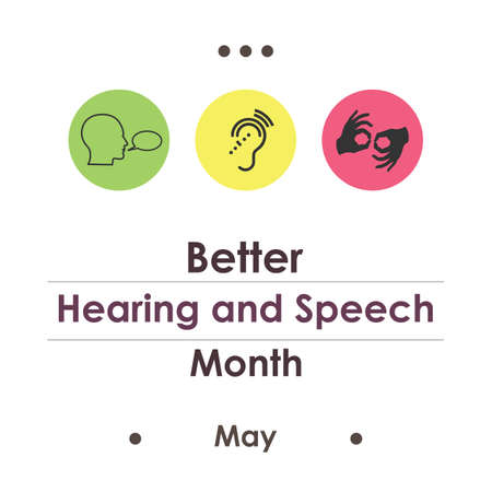 vector illustration / Better Hearing and Speech Month Banque d'images - 154821622