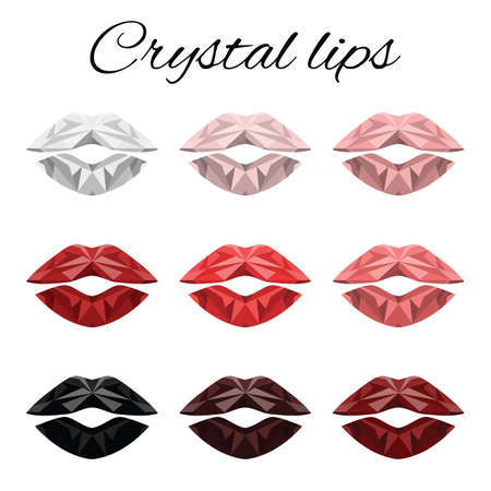 vector illustration / crystal lips / red color tints and shades Banque d'images - 154821839