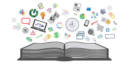 vector illustration of book and charts diagrams symbols for financial management education concept