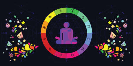 vector illustration of human in lotus yoga posture and colorful zodiac signs circle for astrological yoga visuals 矢量图像