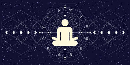 vector illustration of human in lotus yoga posture and zodiac signs circle for astro yoga and therapy visuals 矢量图像