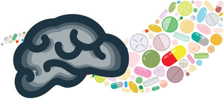 vector illustration of brain and pills flow for headache or mental disorders medication and innovation laboratory concepts