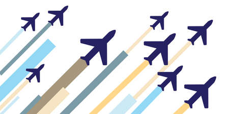 vector illustration of planes with colorful stripes and lines for airlines banners and air company posters background