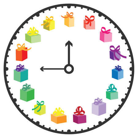 vector illustration of clock with gifts for presents buying time and advises