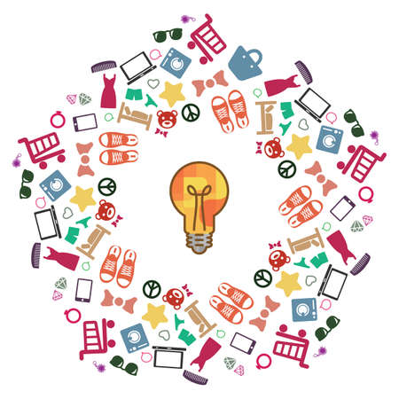 vector illustration of  shopping ideas and lighbulb