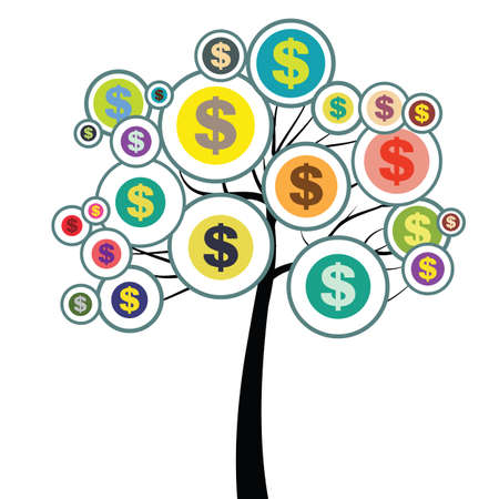 vector illustration of tree with dollar signs for financial management education concept