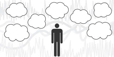 vector illustration of man with clouds for thinking process visualization