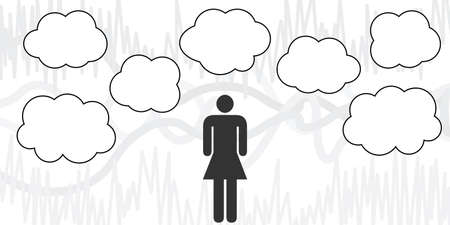 vector illustration of woman with clouds for thinking process visualization