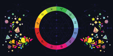 vector illustration of colorful zodiac signs circle and decorative elements on dark background